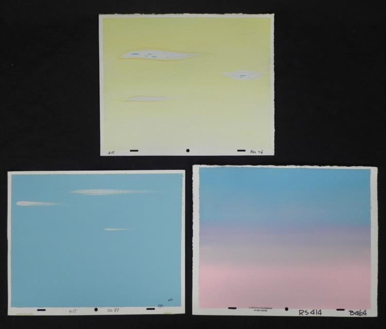 3 Ren & Stimpy Orig Production Backgrounds Skies