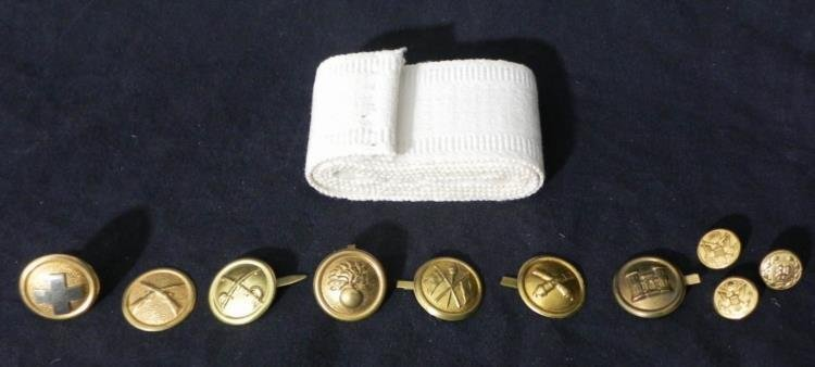 MILITARY INSIGNIA (PRONG BACK) WITH FABRIC STRIP