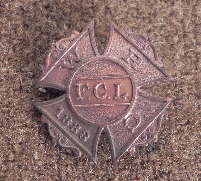 """WOMEN'S RELIEF CORPS-1883-FCL MEMBERS BADGE-REVERSE """"PA"""