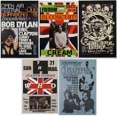 5 Repro Rock Posters The Doors Bob Dylan Greatful Dead