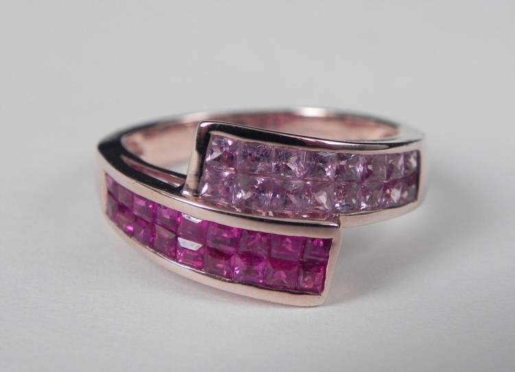 14K Gold Pink & Red Ruby Ring
