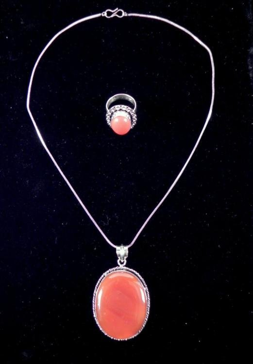 Red Onyx/Coral 2 Pc Sterling Ring, Pendant Necklace Set