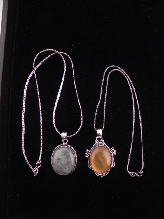 2 Sterling Pendants Oval Amber, Hematite Necklaces