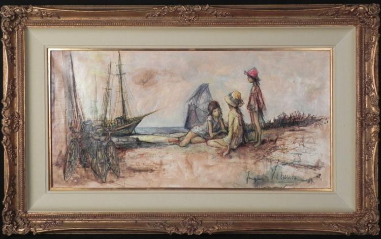 Original 1960s Painting Children on Shore -Framed