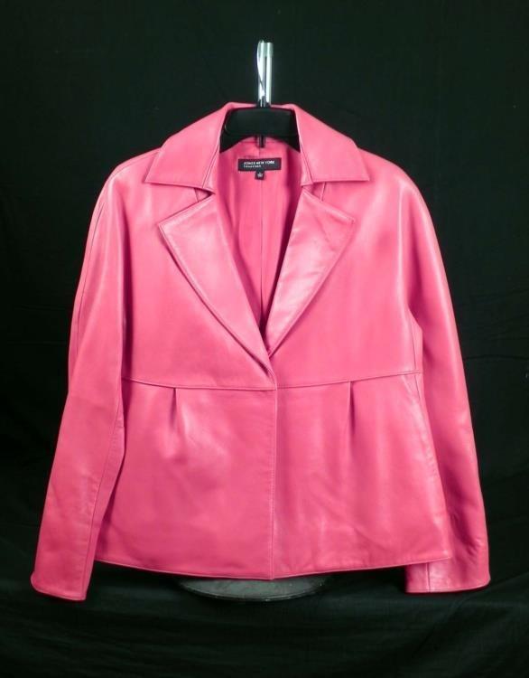 Jones New York Ladies Red Leather Jacket Size L