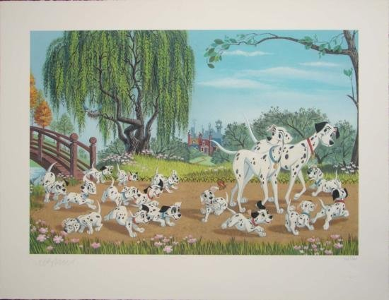 101 DALMATIANS Disney FAMILY OUTING LE Giclee Signed