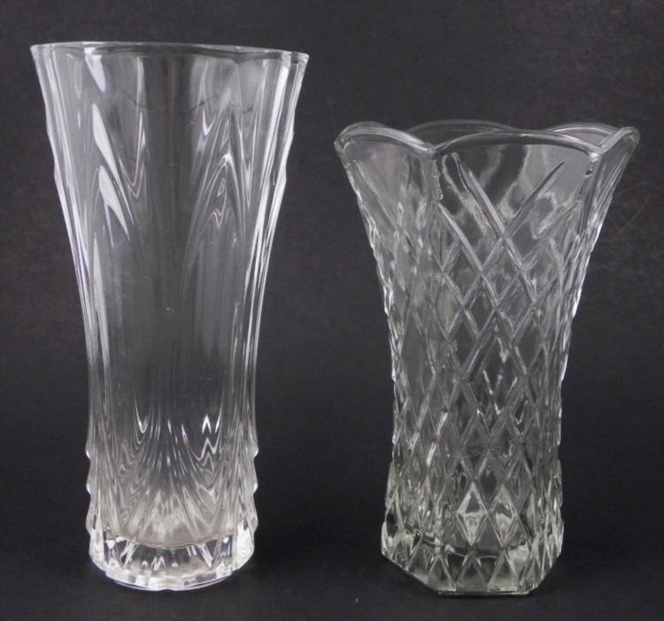 2 Crystal / Elegant Glass Large Flower Vases