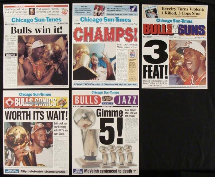 5 Chicago Bulls Championship Newspaper Cover Reprints