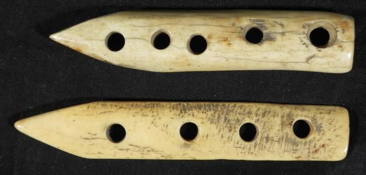 2 Vintage Ivory Carved Spears for Lancing Fish Eskimo?