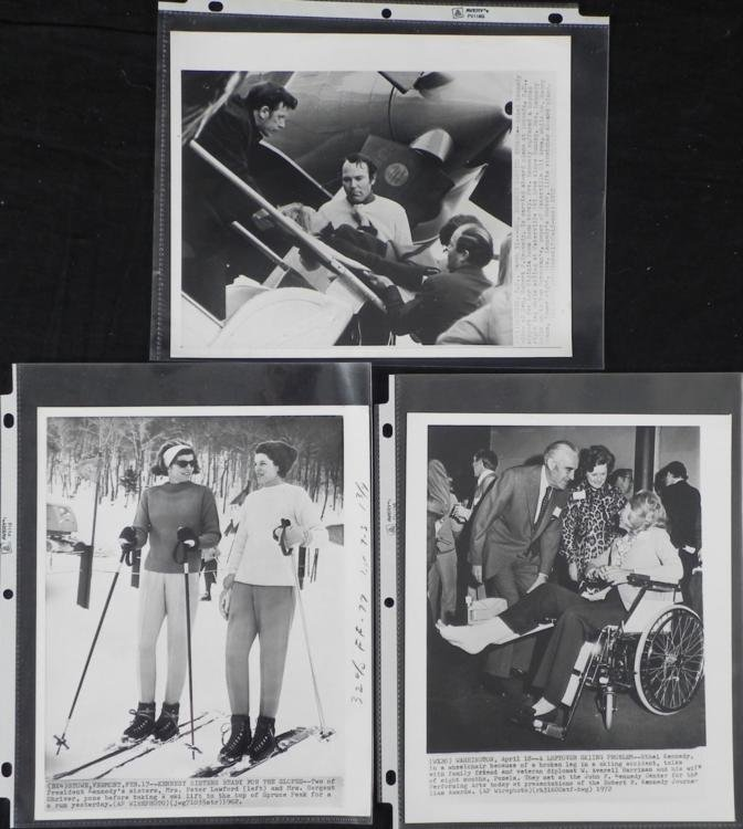 3 Original Press Photos Ethel Kennedy Skiing Accident