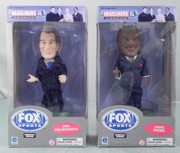 2 Bobbleheads NFL Fox James Brown, Cris Collinsworth