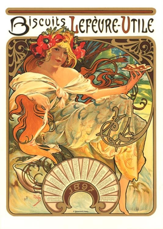 Mucha Biscuits Lefevre-Utile Flatbed Press Lithograph