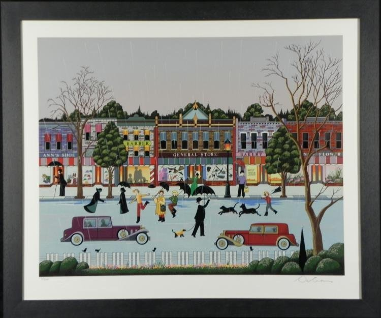Nicky Watanabe Signed Art Print Singing in the Rain-Frd