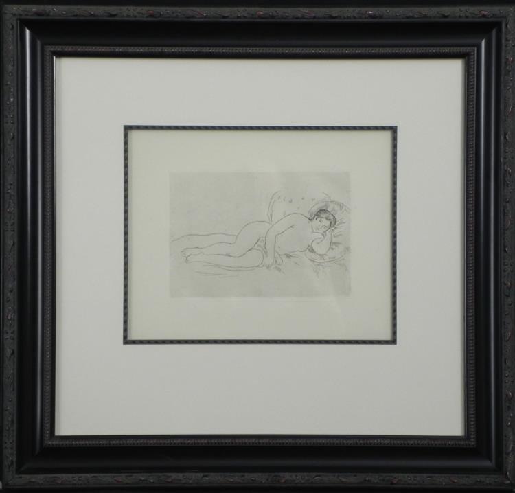 Pierre-Auguste Renoir Etching Femme Au Couchee Framed