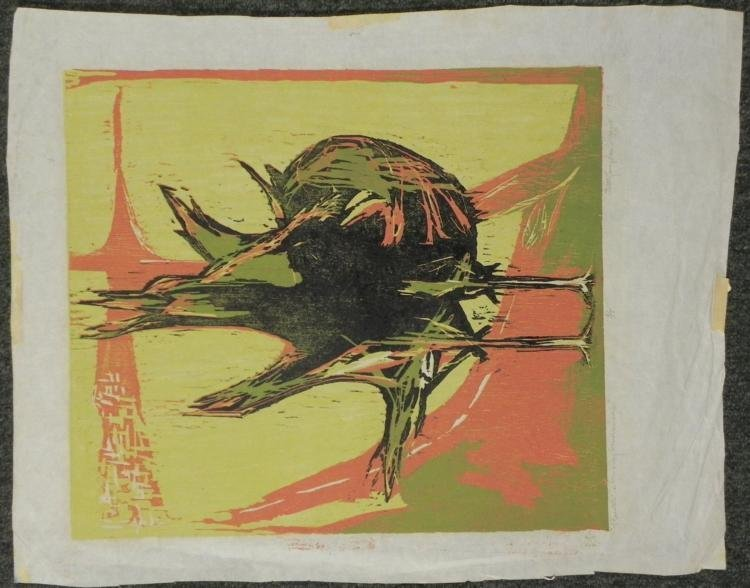 Betty Snyder Shapiro Orig Woodcut Print-Rooster Morning