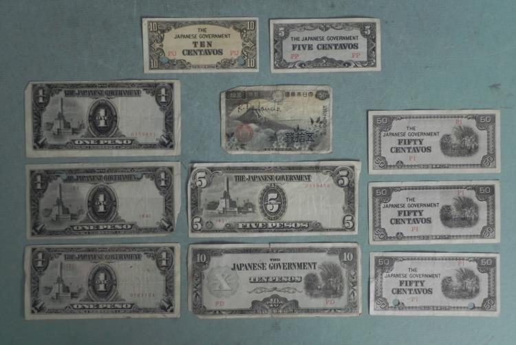 11 Pcs Japanese Invasion Currency WWII Peso, Centavos