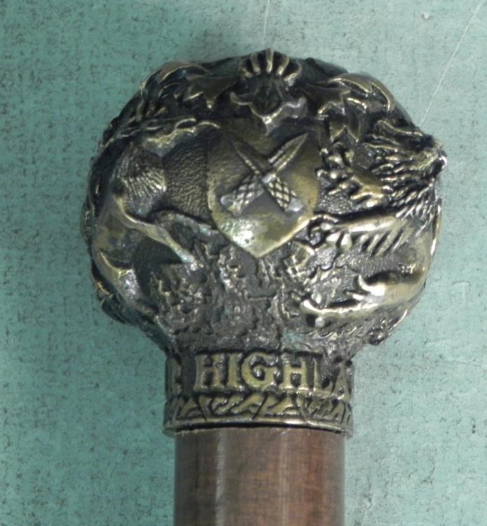 SCOTTISH CANE/-DEWAR HIGHLANDER-WOOD & METAL - 3