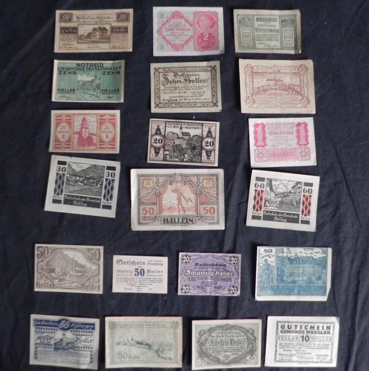1914-1922, 20 Diff Pieces of Austrian Small Money