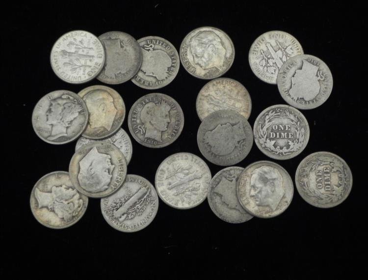 21 Mixed Silver Dimes Barber, Mercury, Roosevelt UNC