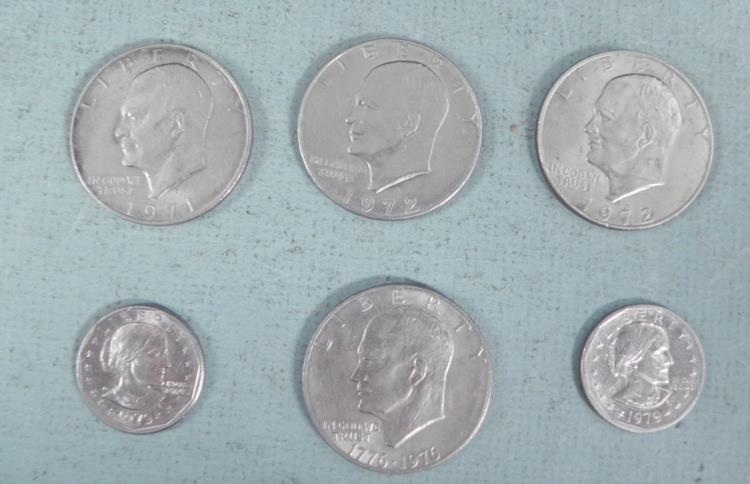 6 Uncirculated US Dollars, 1971-1979