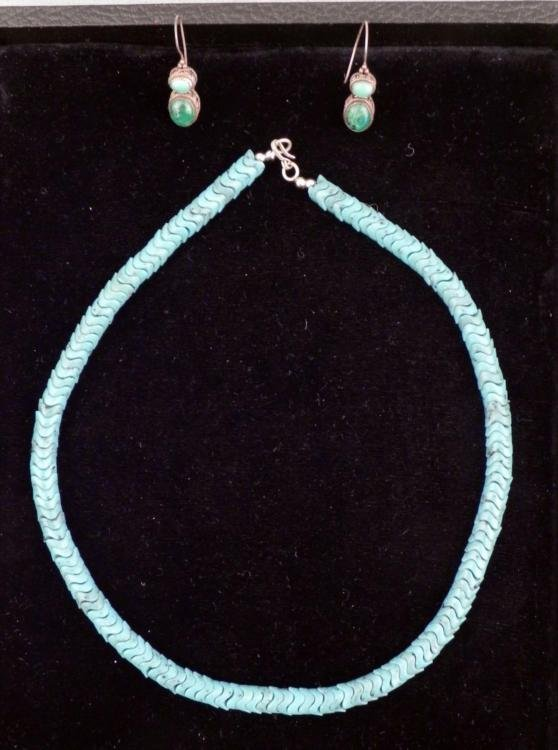 "Turquoise Sterling Silver 20"" Necklace & Earrings"