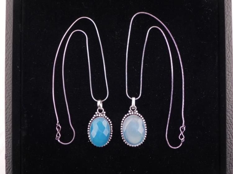 2 Different Blue Topaz Sterling Pendants, Necklaces