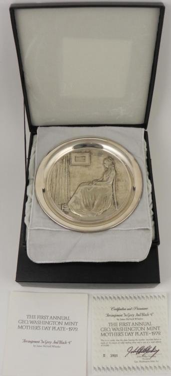 1972 Whistlers Mothers Day Sterling Collector Plate MIB