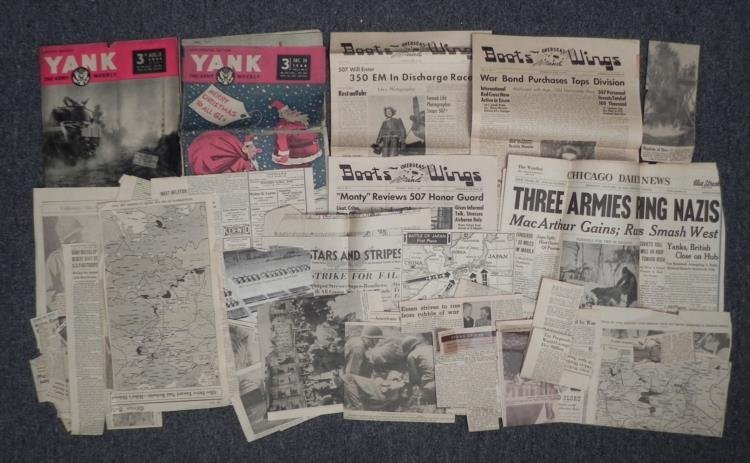 HUGE LOT OF WAR NEWSPAPERS, CLIPPINGS, YANK & GI PAPERS