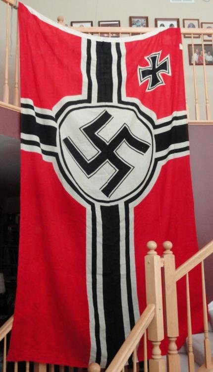 NAZI NAVAL KRIEGS FLAG-GREAT COND.-DOUBLE SIDE-72X128""