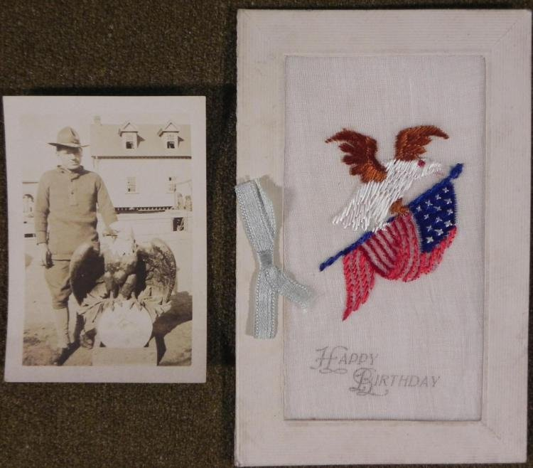 WWI DOUGHBOY PHOTO AND  EMBROIDERED BIRTHDAY CARD