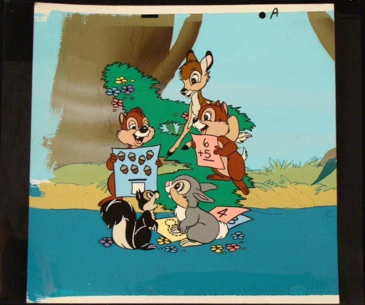Orig Math With Friends Bambi Animation Cel Background