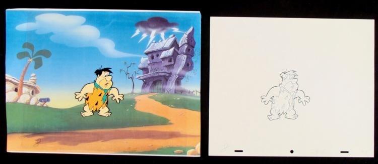 Fred Production Cel Drawing Worried Flinstones Original