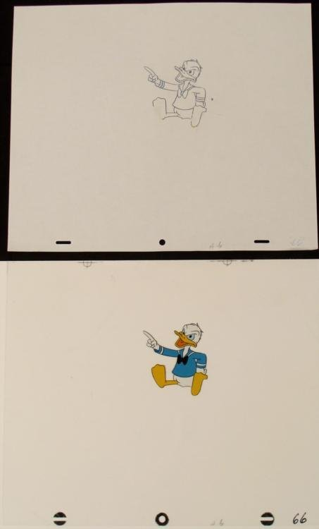 Cel Drawing Animation Donald Duck Orig Scolding Art