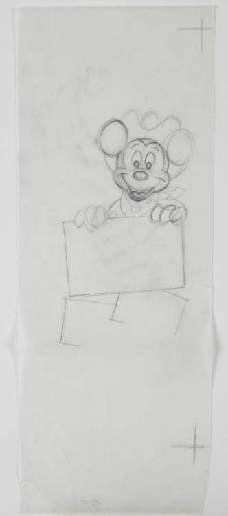 Original Disney Cowboy Mickey Animation Drawing