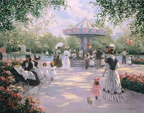 Christa Kieffer - A Parisian Carousel Litho on Canvas