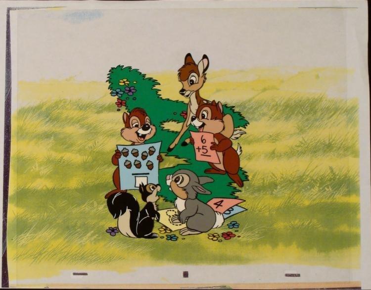 Production Bambi Math Orig Cel Animation Background Art