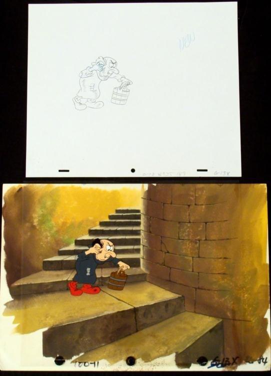 Orig Gargamel Smurfs Background Animation Cel Drawing