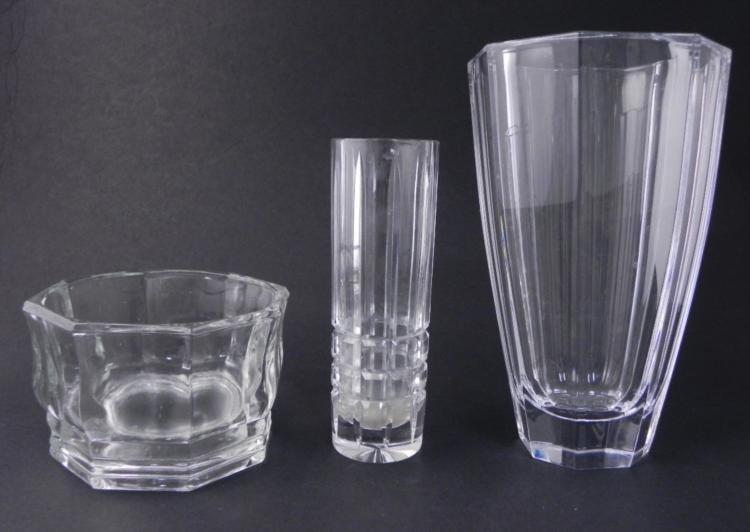 3 Pc Elegant Crystal Vases, Flower Dish