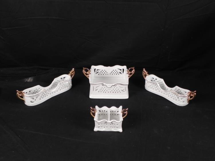 4 Pc Set Porcelain Treasures Fancy Trays