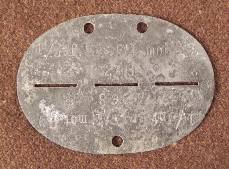 NAZI WEHRMACHT DOGTAG-1ST INFANTRY DIV BATT.1-MOTORIZED