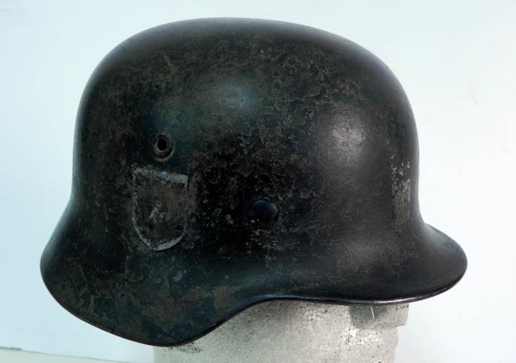 WWII Early SS Helmet w/ Liner No Strap 3 Insignia