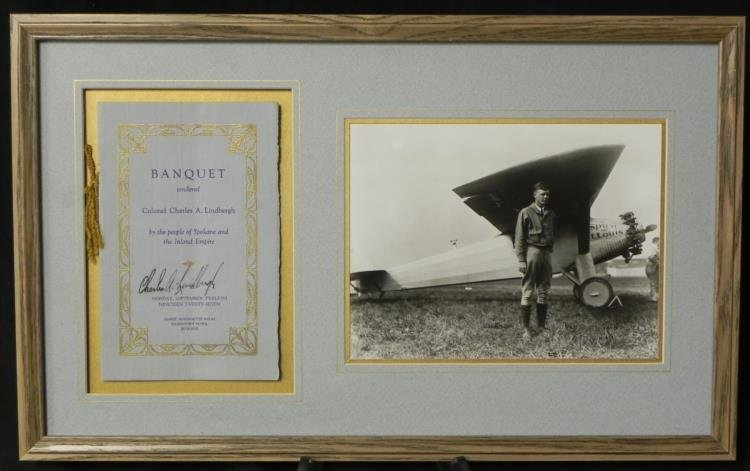 Special Charles Lindbergh Sgnd Banquet Menu 1927 w/ COA