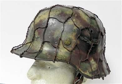 WWII Nazi Luftwaffe Helmet - Orig Camo Shell w/ Wire