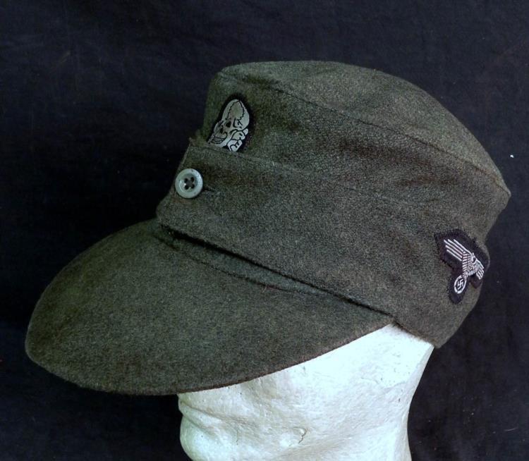 RARE SS M-43 FIELD CAP-ALL INSIGNIA & LATE WAR 1 BUTTON