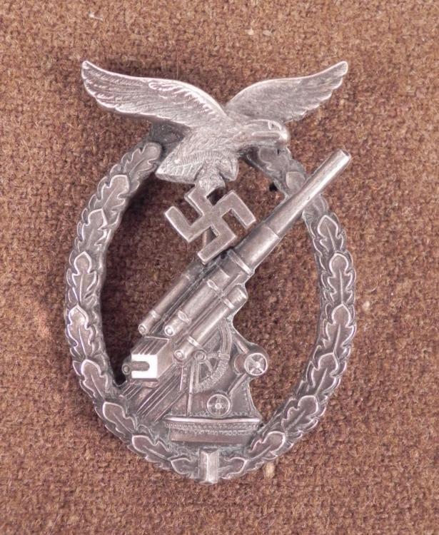 LUFTWAFFE FLAK BADGE-ORIG-BY ASSMANN-ANTI-AIRCRAFT WAR