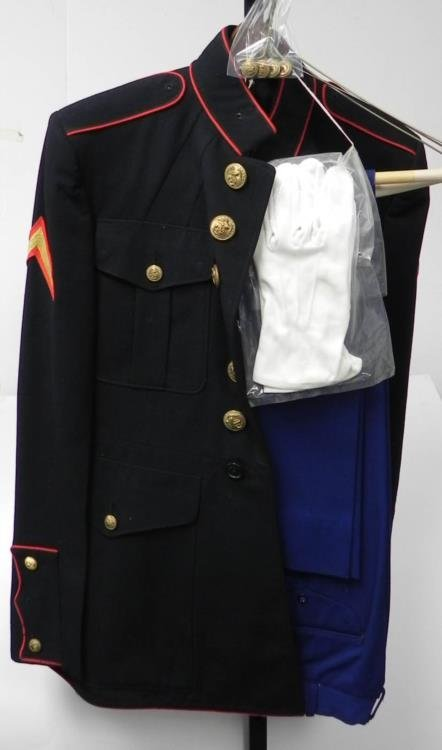 WWII U.S. MARINE DRESS BLUE UNIFORM-2 PR PANTS-MED SIZE