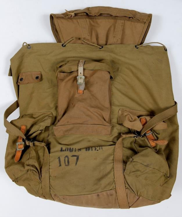 Vintage WWII US Army Backpack Rucksack Canvas Gas Mask - 6