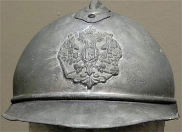 RARE M15 WWI RUSSIAN ADRIAN HELMET WITH IMPERIAL CREST