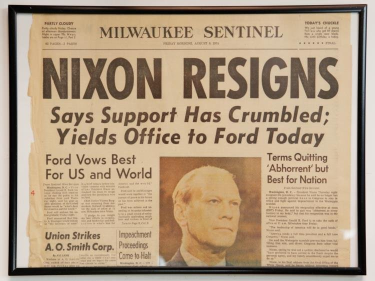 """Nixon Resigns"" Milwaukee Sentinel Newspaper Front Page"