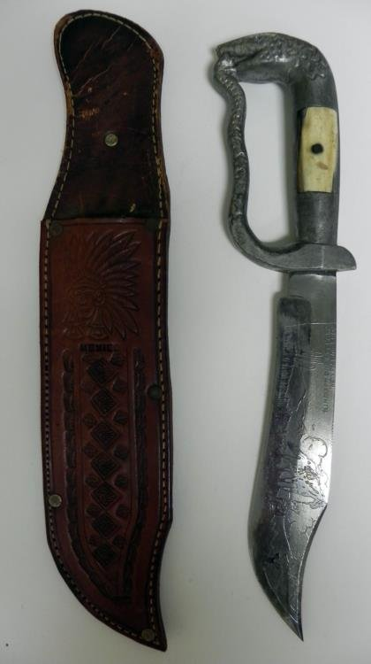 VINTAGE MEXICAN BOWIE KNIFE-DOUBLE ETCHED W/SCABBARD